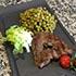 faux filet petits pois verts au restaurant chez claudia